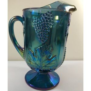 Vintage Carnival Iridescent Blue Glass Pitcher